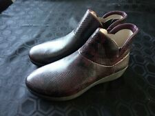 FITFLOP SUPERMOD LEATHER ANKLE BOOT DEEP PLUM SNAKE SIZE UK 05 EUR 38