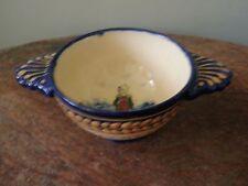 De La Hubaudiere Quimper Broderie Lug Bowl / Porringer w Breton Woman Interior