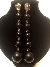 LONG Womens Ladies STATEMENT Large BLACK Beaded Faux Pearl Drop Dangle Earrings