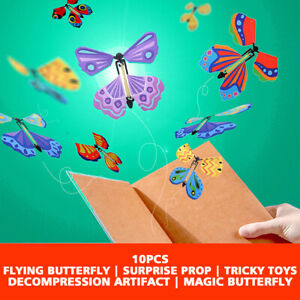 10pcs Magic Butterfly Flying Wind Up Toy with empty For Greeting Birthday Card