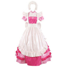 Forced Sissy Maid Gothic PVC Lockable Style Long Pink Dress Uniform Costume