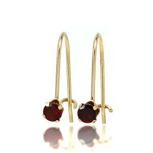 9ct Gold & 3mm Round Gemstone Leverback Earrings Ruby Emerald Garnet Amethyst