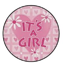 "48 Its a Girl Heart and Flowerl!!!  ENVELOPE SEALS LABELS STICKERS 1.2"" ROUND"