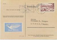 """2402 SAARLAND 1956 """"SAARBRÜCKEN / Luftpost / bringt Zeitgewinn"""" Masch.-Werbestpl"""