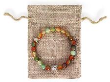 Silver Buddha Head, Rainbow Agate Beaded Semi Precious Bracelet & Jute Gift Bag