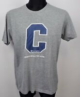 Champion Authentique Grand Chemise Coton Homme Gris Top L T-Shirt Énorme Logo