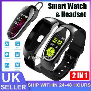 2 in 1 Smart Watch Bluetooth Headset Heart Rate Monitor Fitness Tracker Bracelet