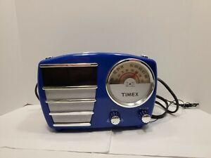 Timex T247RL Retro Style Alarm Clock AM/FM Radio Blue Chrome 50s Design Read D
