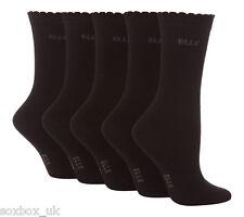 5 Pairs Girls Elle Designer Cotton Ankle Socks Black 6-8 Uk, 21-25 Eur YE001