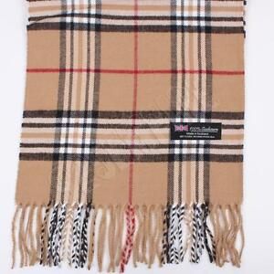 Men's 100% CASHMERE Scarf Camel tartan Plaid Stripe Design Soft