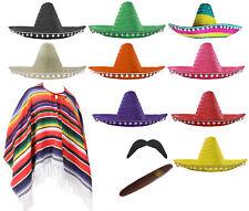 MEXICAN FANCY DRESS COSTUME PONCHO SOMBRERO TASH CIGAR WILD WESTERN BANDIT MENS