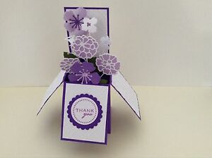 Handmade Thank you card - flowers in a box -pop up design