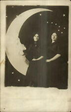 New ListingStudio Papermoon Man in Paper Moon P2 Women c1910 Real Photo Postcard
