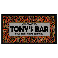 Personalised Welcome - Cold Beer Bar Mat / Runner - Add Your Name - Pub, Custom