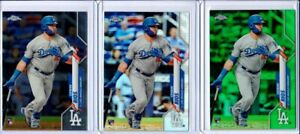 Edwin Rios 2020 Topps Chrome 3ct lot #95 Base / Ref / Green Ref 13/99 RC Dodgers