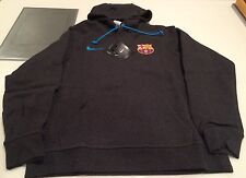 Team FC Barcelona European Soccer Football Hoodie Sweatshirt Grey Large Adult