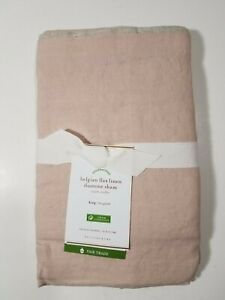 NEW Pottery Barn Belgian Flax Linen Contrast Flange King Sham Soft Rose/Natural