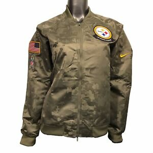 Pittsburgh Steelers Nike Women's XL Salute To Service Satin Bomber Jacket $110