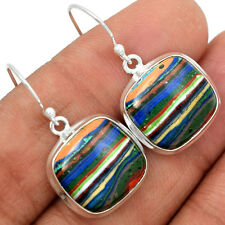 Rainbow Calsilica 925 Sterling Silver Earrings Jewelry RBCE471