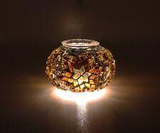 Tea Light Glass Mosaic Tealight Lantern Candles Holder Ball Colourful L Size