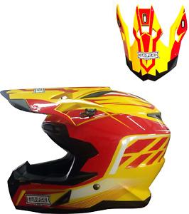 PULSE MOTOCROSS MX ENDURO QUAD OFF ROAD HELMET - PX3 RED WITH REPLACEMENT PEAK