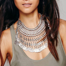 Bohemian Tribal Statement Turkish Gypsy Coins Necklace Ethnic Carved Bib Collar