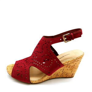 Isaac Mizrahi Womens Sabina Suede Perforated Wedge Sandals Dark Red 9W New