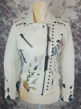 Blank NYC Women's Jacket XS Vegan Faux Leather Embroidered Studded Moto NEW *~