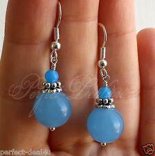 Cute blue earrings 925 sterling silver hook dangle Jade gemstone wemen jewelry