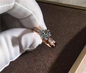 Fashion Rose Gold Women Wedding Ring Round Cut White Sapphire Jewellery Sz 10