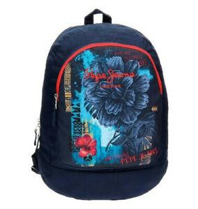 Rucksack Pepe Jeans NEU 33x44x13 blau Aloha Blumen Tasche Damen Kinder Herren