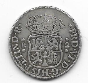 PERU  2 reales 1756  SILVER  KM# 53  VF+