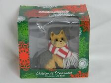 Yorkie Christmas Ornament Dog Sandicast Hand Cast Painted Red & White Scarf
