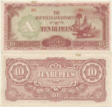 "1942 WORLD WAR II ERA Relic JAPANESE Occupation of ""BRITISH"" BURMA 10 Rupee NOTE"
