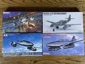 Lot of 4 Vintage WW2 1:48 Me 262 Airplane Kits - DML, Dragon, Tamiya