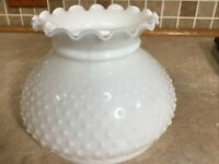 "8""  Milk Glass White Hobnail Ruffled Top Oil Electric Table Lamp Shade 6"" Tall"