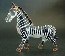 Glass ZEBRA Glass Animal Stripy Black White Red Painted Blown Glass Ornament