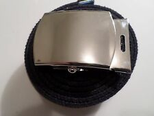 U.S MILITARY BLUE WEB BELT WITH CHROME PLATED SOLID BRASS BUCKLE U.S.A MADE