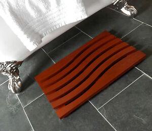 Wave Design Solid Beech Wooden Duck Board Bathroom Shower Mat - Deep Mahogany