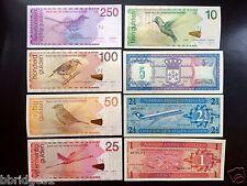 Netherlands Antilles Set of 8 - 1 2.5 5 10 25 50 100 250 Gulden Banknotes UNC
