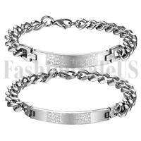 Mens Women Stainless Steel Lovers English Bible Verse Prayer Cross Link Bracelet