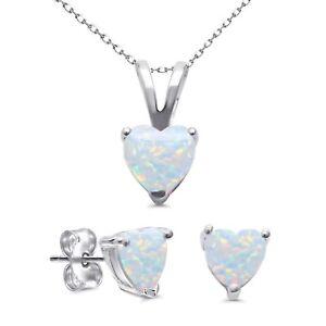 White Fire Opal Heart Cut Stud Cast Earring Pendant Necklace Sterling Silver Set