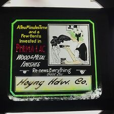 Antique Advertising Magic Lantern Glass Slide Perma Lac Maid Cleaning