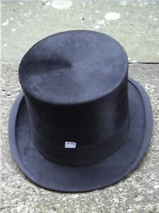 Extremely Large 62cm Antique Continental Black Silk Top Hat Sz 7 5/8
