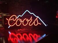 Vintage Hard To Find Coors Beer 1987 Everbrite Neon Glass Tube Sign Bar Light