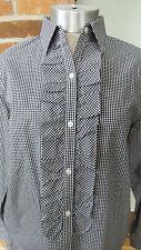 Vtg Ralph lauren Blouse shirt Ruffle Front long sleeve Black & White check Sz S