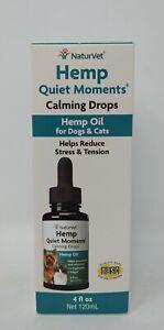 NaturVet Hemp Quiet Moments Calming Drops for Pets 4 fl. oz, Exp 05/22+, #9640