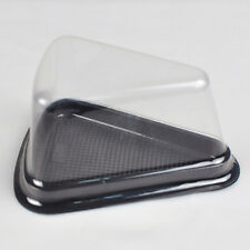 50x BPA-Free Clear Lids Black Base Pie Cake Tart Slice Wedge Boxes Containers