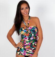Seafolly Summer Garden Black Tankini Top AU 10 Bandeau Halter Ruch Singlet $150