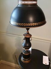 Vintage Mid Century modern Black & Gold large Tole Metal Lamp + Shade 24 inch
